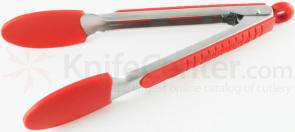 Messermeister 9 inch Silicone-Coated Locking Tongs, Red (Resistant up to 430°F)