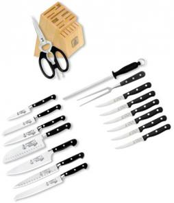 Messermeister Meridian Elite 17 Piece Premier Block Set with Park Plaza Steak Knives