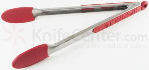Messermeister 12 inch Silicone-Coated Locking Tongs, Cranberry (Resistant up to 430°F)