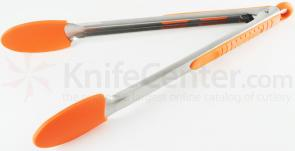 Messermeister 12 inch Silicone-Coated Locking Tongs, Orange (Resistant up to 430°F)