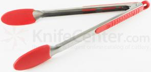 Messermeister 12 inch Silicone-Coated Locking Tongs, Red (Resistant up to 430°F)