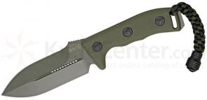 Microtech 101-1GR Crosshair Combat Knife Fixed 4.5 inch Green Double Plain Edge Blade, Kydex Sheath