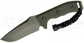 Microtech 102-1GR Green Currahee Combat Fixed 4.5 inch Single Plain Edge Blade, Kydex Sheath