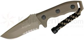 Microtech 102-2TA Tan Currahee Combat Fixed 4.5 inch Single Combo Edge Blade, Kydex Sheath