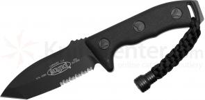 Microtech 103-2BL Black Tanto Currahee Combat Knife Fixed 4.5 inch Single Combo Edge Blade, Kydex Sheath