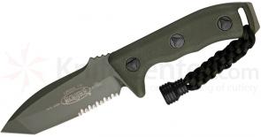 Microtech 103-2GR Green Tanto Currahee Combat Knife Fixed 4.5 inch Single Combo Edge Blade, Kydex Sheath