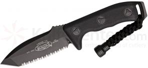 Microtech 103-3BL Black Tanto Currahee Combat Knife Fixed 4.5 inch Single Edge Fully Serrated Blade, Kydex Sheath