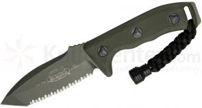 Microtech 103-3GR Green Tanto Currahee Combat Knife Fixed 4.5 inch Single Edge Fully Serrated Blade, Kydex Sheath