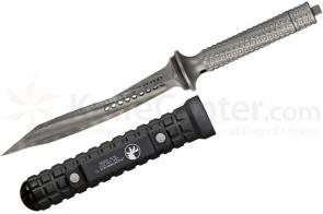 Microtech 105-7TI Titanium Jagdkommando Fixed 7 inch Tri-Edge Dagger, Bead Blast Finish, Black Aluminum Sheath