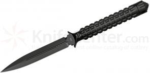 Microtech 115-1 Black Spear Point ADO Fixed 4.5 inch Double Plain Edge Blade, Hollow Handle