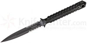 Microtech 115-2 Black Spear Point ADO Fixed 4.5 inch Double Combo Edge Blade, Hollow Handle