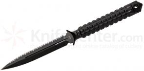Microtech 115-3 Black Spear Point ADO Fixed 4.5 inch Serrated/Plain Double Edge Blade, Hollow Handle