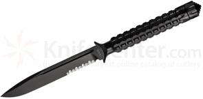 Microtech 116-2 Black Drop Point ADO Fixed 4.5 inch Single Combo Edge Blade, Hollow Handle
