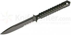 Microtech 116-2GR Green Drop Point ADO Fixed 4.5 inch Single Combo Edge Blade, Hollow Handle