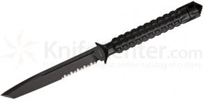 Microtech 117-2 Black Tanto ADO Fixed 4.5 inch Single Combo Edge Blade, Hollow Handle