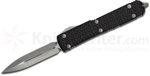 Microtech 122-10 Ultratech AUTO OTF 3.46 inch Stonewash Double Edge Dagger Blade, Aluminum Handles