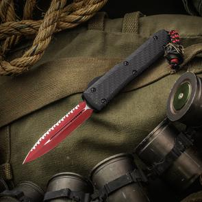 Microtech Signature Series Special Lord Vader Ultratech AUTO OTF 3.46 inch Red Elmax Double Edge Plain/Serrated Blade, Carbon Fiber/Aluminum Handle, Space Samurai Bead