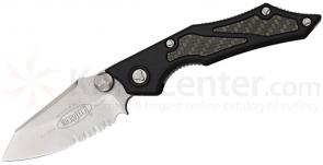 Microtech 129-11 Select Fire Manual 3.5 inch Stonewashed Combo Blade, Aluminum Handles with Carbon Fiber Inserts