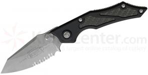 Microtech 129-8 Select Fire Manual 3.5 inch S35VN Bead Blast Combo Blade, Aluminum Handles with Carbon Fiber Inserts
