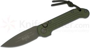 Microtech 135-1GR LUDT AUTO 3.375 inch Green Plain Blade, Aluminum Handles and Hardware