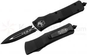 Microtech 138-1T Troodon AUTO OTF 3.06 inch Black Plain Double Edged Dagger Blade