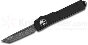Microtech 149-16 Limited Edition UTX-70 OTF AUTO 2.41 inch Spirograph Damascus Tanto Blade, Black Aluminum Handles