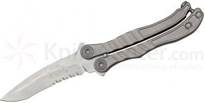 Microtech 170-11 Metalmark Bali-Song 3.9 inch Stonewashed Combo Blade, Titanium Handles