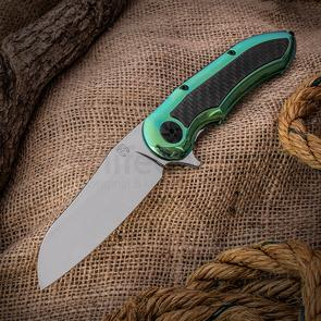 Jerry Moen Mid-Tech Max Evolution Flipper 3.875 inch CTS-XHP Mirror Polished Blade, Green Polished Titanium Handles with Carbon Fiber Inlays
