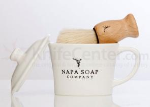Napa Soap Company Ceramic Shaving Soap Gift Set, Vintner's Blend