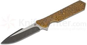 Olamic Cutlery Custom Rainmaker R078 Flipper 4.25 inch CTS-XHP Two-Tone Harpoon Blade, Glossy Molten Bronze Titanium Handles