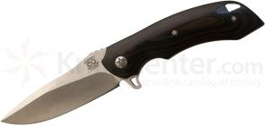Olamic Cutlery Wayfarer Flipper 4 inch 154CM Drop Point Blade, Brown and Black G10 Handles