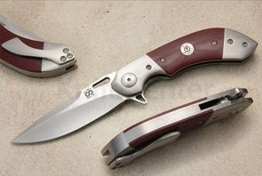 Olamic Cutlery Custom Wayfarer Compact WC212 Flipper 3.5 inch Satin CTX-XHP Blade, Red G10 Handles with Dual Titanium Bolsters and .38 Special Inlay