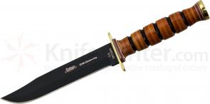 Ontario 6304 125th Anniversary P4 USMC Combat Knife Fixed 7 inch Black Blade, Leather Sheath