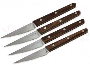 Ontario Robeson Viking 4-Piece Steak Knife Set, 4 inch Sandvik 14C28N Serrated Blades