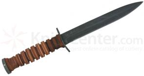 Ontario WWII M3 Trench Knife Fixed 6.875 inch Blade, Leather Handle, Leather Sheath