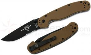 Ontario RAT Model 1 Folding Knife 3.6 inch Black Combo Blade, Coyote Brown Nylon Handles
