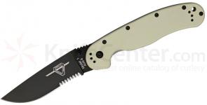 Ontario RAT Model 1 Folding Knife 3.6 inch Black Combo Blade, Desert Tan Nylon Handles