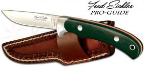 Outdoor Edge Fred Eichler Pro-Guide Fixed 3-1/4 inch Plain Blade, Green G10 Handle with Leather Sheath