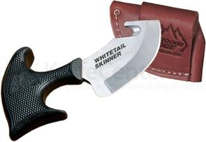 Outdoor Edge Whitetail Skinner 2.75 inch Blade with Gut Hook , Kraton Handle, Leather Sheath