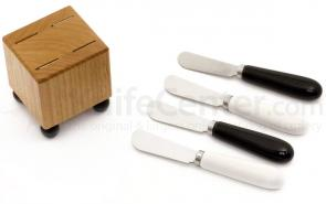 Out of the Woods of Oregon Mini Block & Cheese Spreaders Crate Set, Black & White