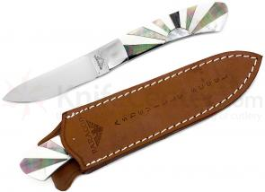 Paragon Skinning Knife Fixed 3-1/2 inch Mirror Polish Blade, Sunburst Black Mother of Pearl Handles