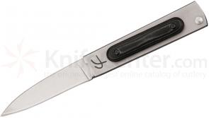 Fred Perrin Le Trifolder II 3 inch 440C Plain Blade, Stainless Steel Handles w/ Micarta Onlay
