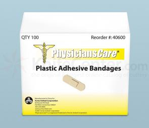 PhysiciansCare Brand 3/4 inch x 3 inch Plastic Bandages, 100/box