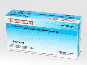 PhysiciansCare Brand Latex Gloves, Lightly Powdered - Large - 100/box