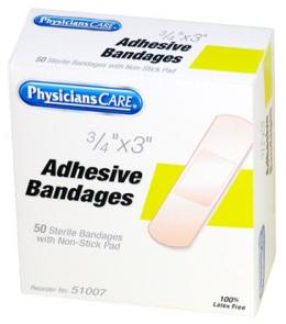 PhysiciansCare Brand 3/4 inch x 3 inch Plastic Bandages - 50/box