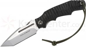 Pohl Force Foxtrot Three Outdoor Folder 4.44 inch Stonewashed Niolox Plain Blade, Black G10/Titanium Handle