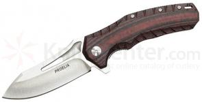 Proelia Knives TX020RW Tactical Folder 4 inch Stonewashed D2 Drop Point Blade, Red and Black G10 Handles