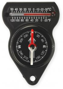 NDuR Mini Compass with Thermometer, Black