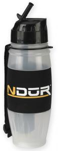 NDuR 28oz Flip Top Water Filtration Bottle, Clear with Black Cap
