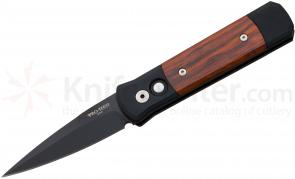 Protech Godson AUTO Folding 3.15 inch Black 154CM Blade, Aluminum Handle with Cocobolo Inlays
